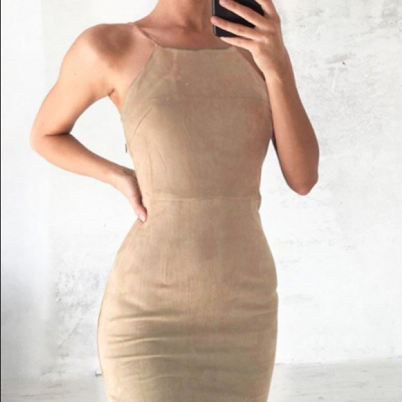 abora Dresses & Skirts - BOGO🆓Suede-like mini backless strap halter dress